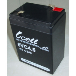 BATTERY, RECHARGEABLE SLA, LEAD ACID, 6V, 4.5AH