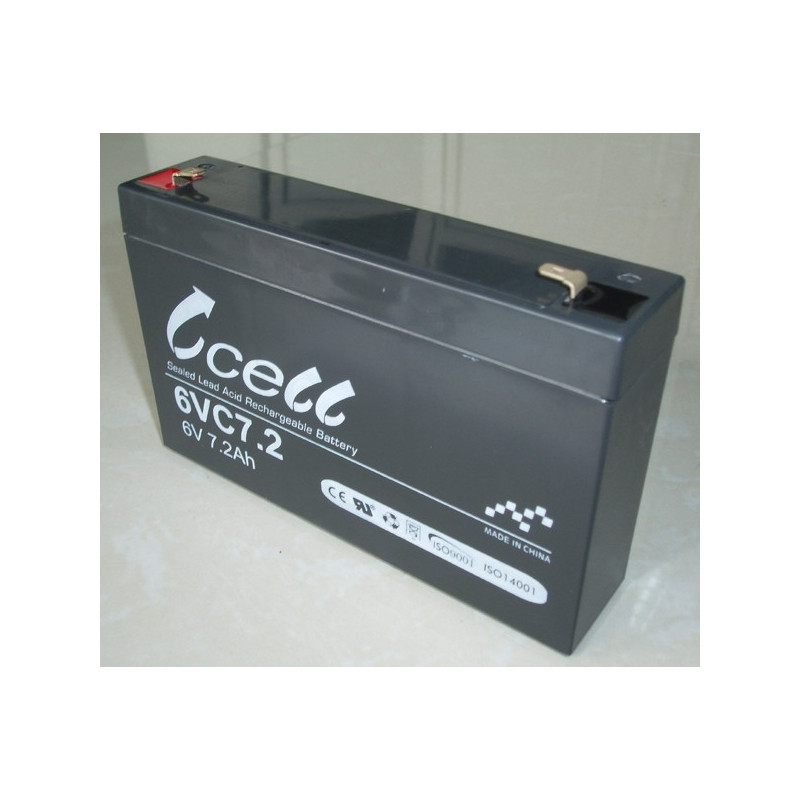 BATTERY, RECHARGEABLE SLA, LEAD ACID, 6V, 7-7.2AH