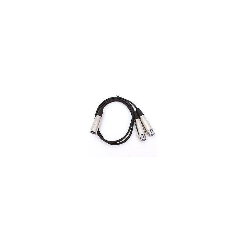 AUDIO CABLE, 6IN XLR(M) TO 2 XLR(F)