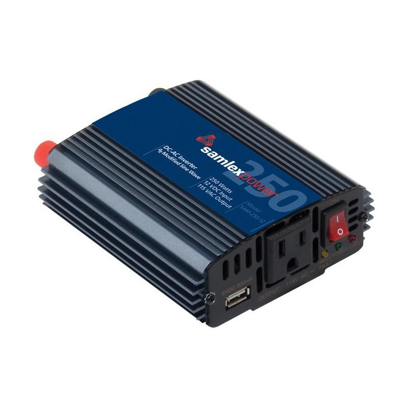 POWER INVERTER 250W 12VDC TO 115VAC W/5V USB OUT