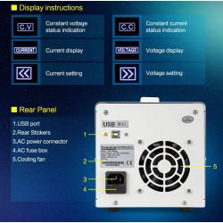 BENCH PROG. DC SWITCH POWER SUPPLY W/USB KPS-3005DU 30V 5A