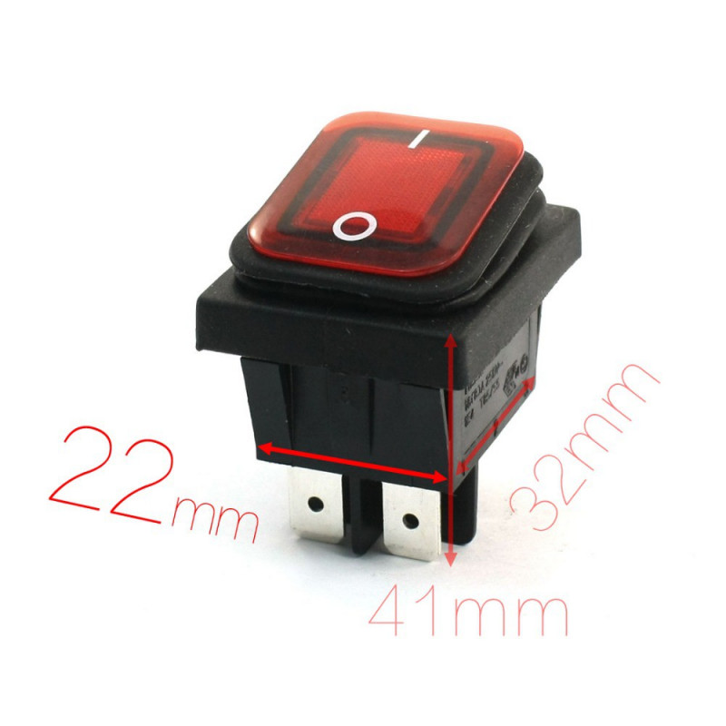 ROCKER SWITCH WATERPROOF DPST 250V 10A RED