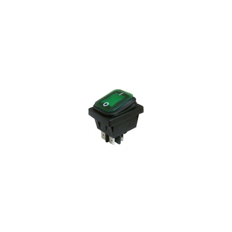 ROCKER SWITCH DPST WATERPROOF 10A 250V GREEN