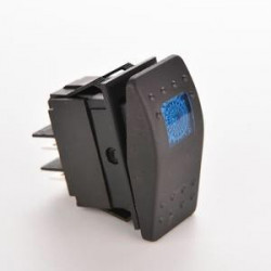 AUTOMOTIVE ROCKER SWITCH 12VDC 20A W/BLUE SQD LED