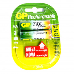 BATTERY, RECHARGEABLE, GP, AA, NiMH, 1.2V 2100mAh 2PC/PKG