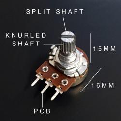 POT A250K PCB 15MM KNURLED SPLIT SHAFT, 16MM