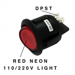 ROCKER ROUND ON-OFF SWITCH, DPST, 10A, 250VAC, RED NEON