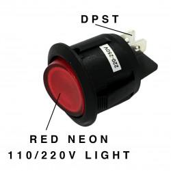 ROCKER ROUND ON-OFF SWITCH, DPST, 10A, 250VAC, RED NEON