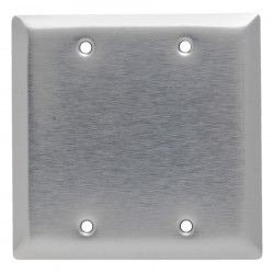 2 GANG BLANK WALL PLATE STAINLESS STEEL