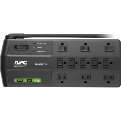 APC 11 OUTLETS 2X USB W/8FT CORD SURGE POWER BAR
