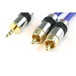 AUDIO CABLE, 3.5mm(M) TO 2 RCA(M) AUDIO GRADE, 15M