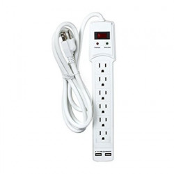 POWER BAR 6 OUTLETS W/ SURG PROTECTION AND 2 USB PORTS