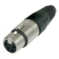 NEUTRIK 4 PIN XLR INLINE (F) SOCKET - NICKEL HOUSING NC4FX