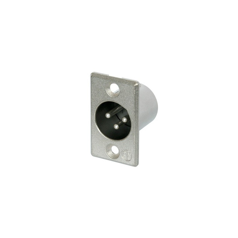 NEUTRIK 3 PIN  XLR CHASSIS (M) SOCKET - NICKEL HOUSING NC3MP