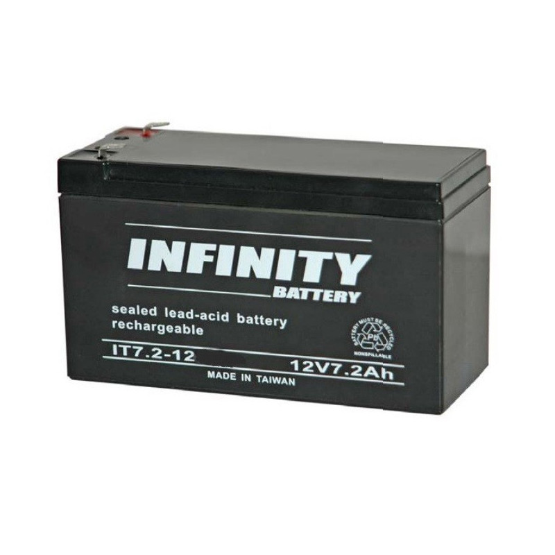 "BATTERY, RECHARGEABLE, LEAD ACID, 12V 7.2A 1/4"" TAB INFINITY"