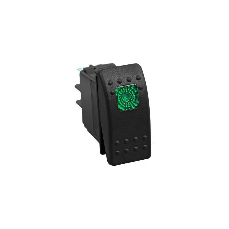 AUTOMOTIVE ROCKER SWITCH 12VDC 20A W/ GREEN SQD LED