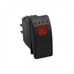 AUTOMOTIVE ROCKER SWITCH 12VDC 20A W/RED SQD LED