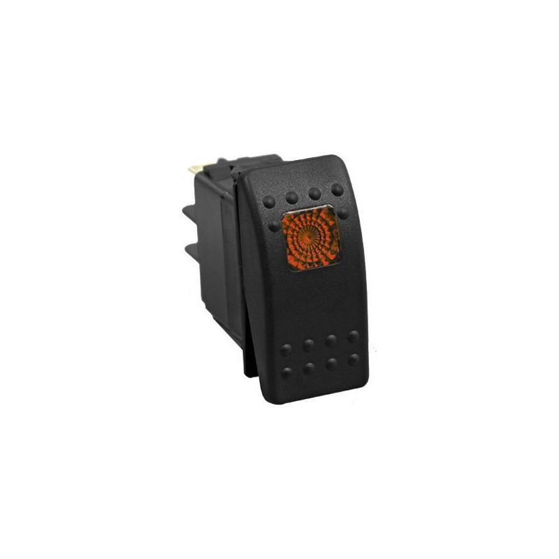 AUTOMOTIVE ROCKER SWITCH 12VDC 20A W/YELLOW SQD LED