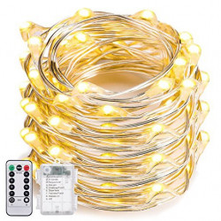 CONTROLLABLE 100 LED STRING LIGHT W. WHITE /W  REMOTE 10M