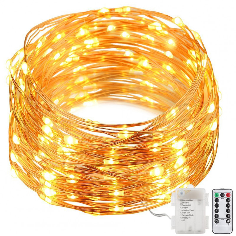 CONTROLLABLE 50 LED STRING LIGHT W. WHITE W/ REMOTE 5 METER