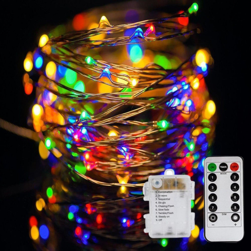 CONTROLLABLE 100 LED STRING LIGHT RGB W/ REMOTE 10 METER
