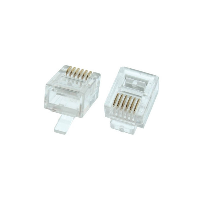 RJ-12 6P6C CRIMP CONNECTORS FOR FLAT STRANDED PH. CABLE 4PCS