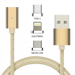 DETACHABLE MAGNETIC USB C / LIGHTNING / MICRO CABLE 1M