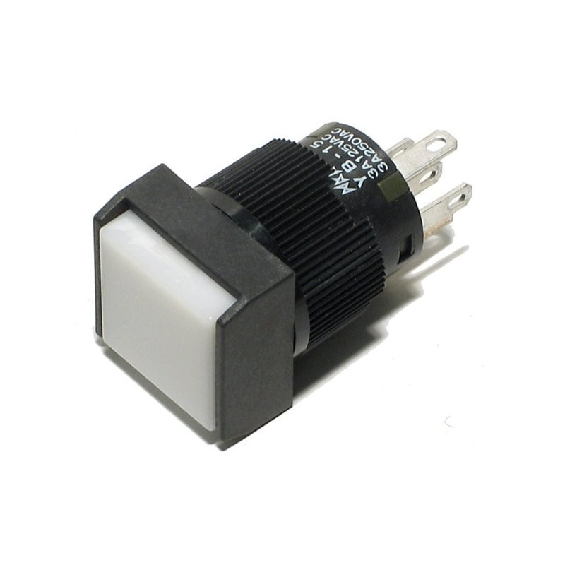 PUSH BUTTON MOMENTARY SPDT W/12V LED WHITE
