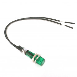 INDICATOR LAMP, GREEN, 12VDC, W/120MM WIRES