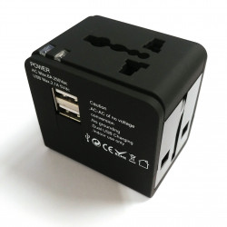 UNIVERSAL PLUG ADAPTER W/ DUAL USB SOCKET