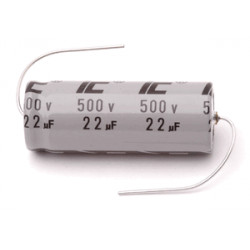 ELECTROLYTIC CAP, 500V, 22UF, AXIAL, ILLINOIS
