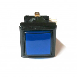 PUSH BUTTON SWITCH SQUARE W/ LIGHT BLUE MOMENTARY