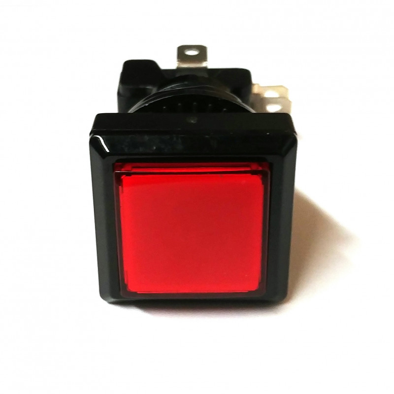 PUSH BUTTON SWITCH SQUARE W/ LIGHT RED MOMENTARY