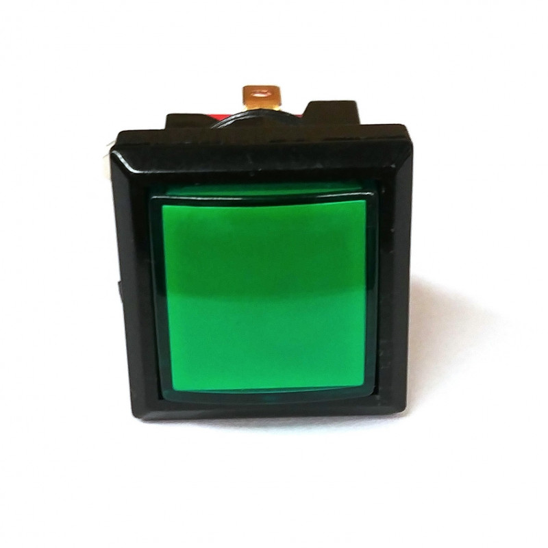 PUSH BUTTON SWITCH SQUARE W/ LIGHT GREEN MOMENTARY