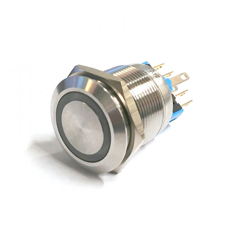 VANDAL MOMENTARY PUSH BUTTON SPDT 24V BLUE LED 22X45MM