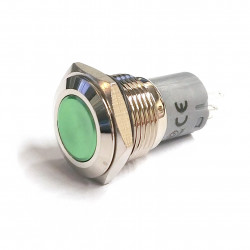 VANDAL ON/OFF PUSH BUTTON SPDT GREEN PROTRUDE 16X38MM