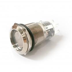 VANDAL ON/OFF PUSH BUTTON SPDT 24V WHITE LED 19X40MM