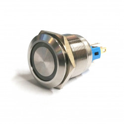 VANDAL ON/OFF PUSH BUTTON SPDT 24V GREEN LED 22X45MM