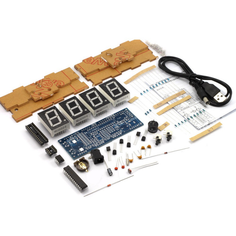 DIY KIT 4 DIGIT CLOCK WITH TEMPERATURE DATE TIME DISPLAY