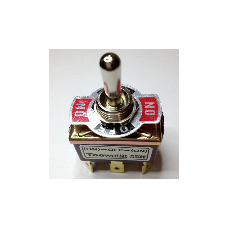 TOGGLE SWITCH, DPDT, ON-OFF-(ON), 20A, SOLDER LUGS