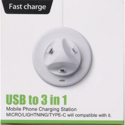 USB 3 IN 1 FAST CHARGER (MICRO / LIGHTNING / TYPE C)