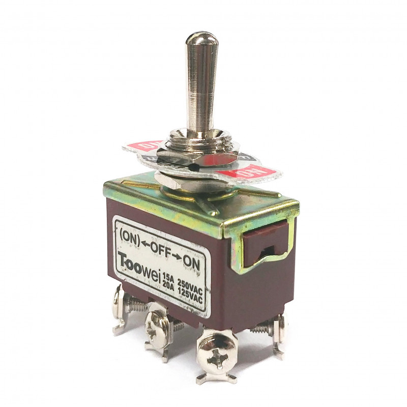 TOGGLE SWITCH,DPDT,ON-OFF-(ON),20A,SCREW LUG