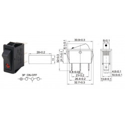 ROCKER SWITCH KCD3-103N 16A...