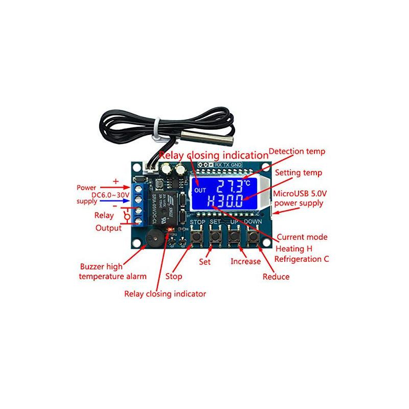 DIGITAL TEMPURATURE CONTROL, W/RELAY, 5-30VDC