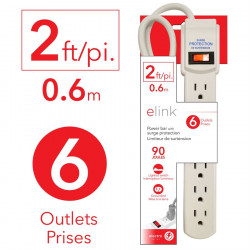 POWER BAR, 6 OUTLET 2FT...