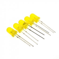 LED 3MM DIFFUSED YELLOW 5PCS