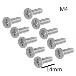 SCREW M4X14MM FLAT 10PCS/PKG