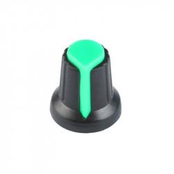 KNOB PLASTIC BLACK/GREEN ID6MM