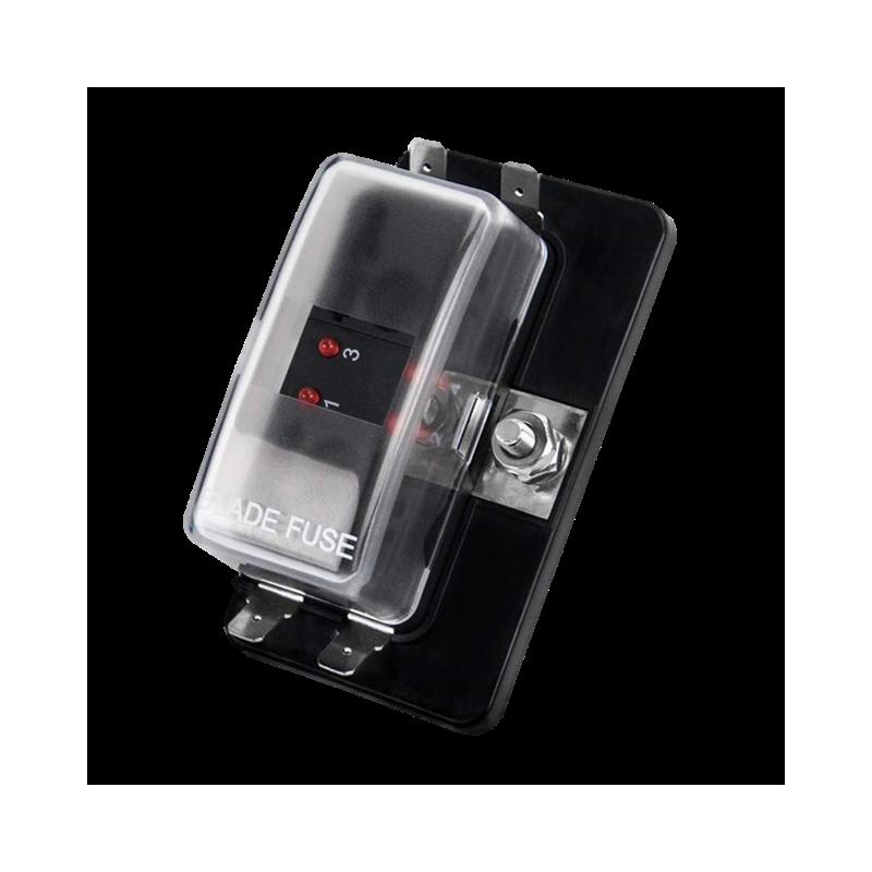 AUTO FUSE BLOCK 4-POS LED INDICATE W/ 0.25 QCK TERMINAL