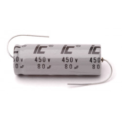 ELECTROLYTIC CAP, 450V/500V, 80UF, AXIAL, ILLINOIS
